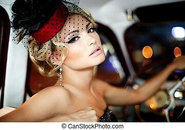 肖像画, 美しい, ファッション, セクシー