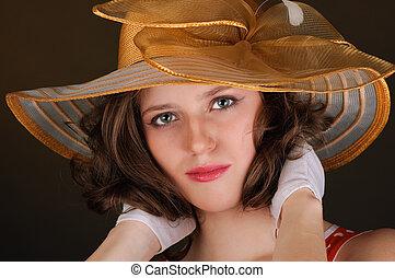肖像画, 美しい, 帽子, 女