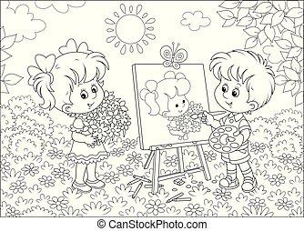 肖像画, 美しい, 画家, わずかしか