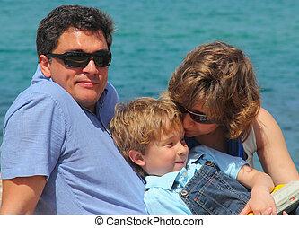 肖像画, 背景, 家族, 海, 幸せ