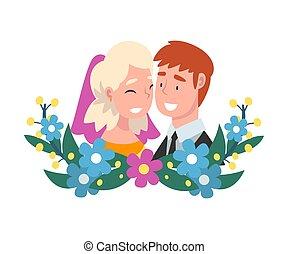 肖像画, 花嫁, 地位, 花婿, ベクトル, の後ろ, 花輪, イラスト, 漫画