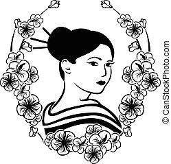 肖像画, 花輪, 芸者