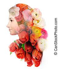 肖像画, 花