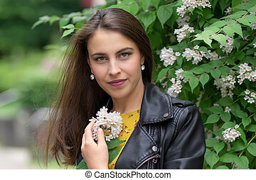 肖像画, 花, 女, 若い