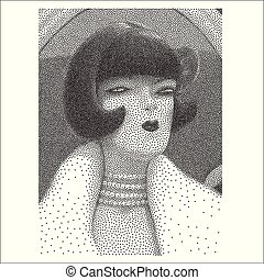 肖像画, 若い女性, halftone, 横柄