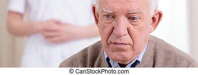 肖像画, 退職者, 悲しい