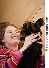 肖像画, 遊び, 犬, 子供