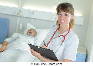 肖像画, 部屋, ファイル, 保有物, 看護婦, 病院