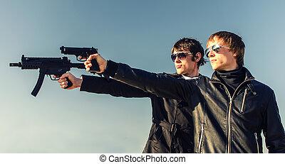 肖像画, 銃, 堅い, 2人の男