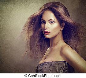 肖像画, 長い間, 女の子, 毛, 吹く, モデル, ファッション