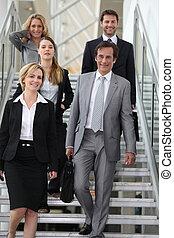 肖像画, 階段, ビジネス チーム
