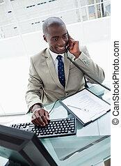 肖像画, 電話, ビジネスマン