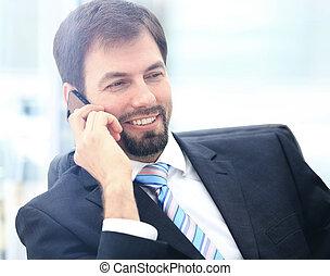肖像画, 電話, ビジネスマン, 若い, 話し