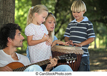 肖像画, 音楽, 遊び, 家族