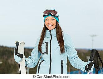 肖像画, 高山, 半分長さ, 女性, スキーヤー