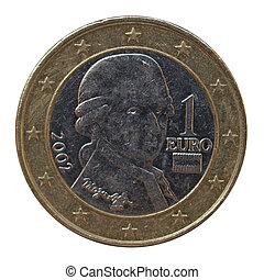肖像画, austrian, コイン, ユーロ, モーツァルト