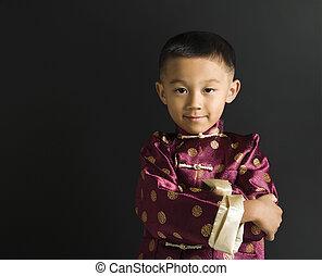 肖像画, boy., アジア人