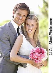 肖像画, bridal, 屋外のカップル