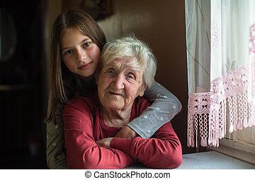 肖像画, great-grandmother., わずかしか, 彼女, 古い, 女の子