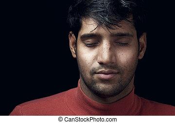 肖像画,  indian, 若い, 人