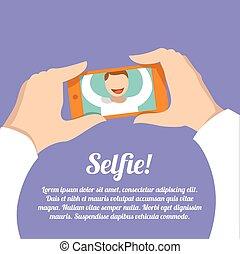 肖像画, selfie, 自己, ポスター