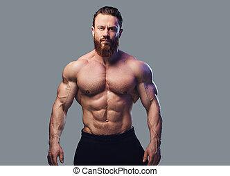 肖像画, shirtless, あごひげを生やしている, bodybuilder.