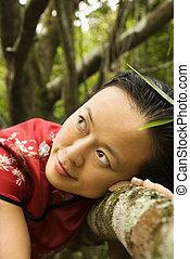 肖像画, woman., アジア人
