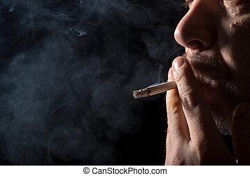 肖像, 人抽煙, 香煙