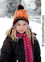 肖像, 冬季, 女孩, 荷兰人