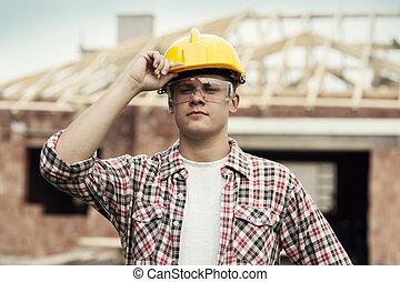 肖像, 在中, 建设工人
