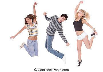 肖像, 在中, 跳跃的人们