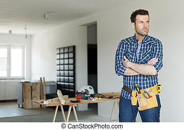 肖像, 在中, 集中, 建设工人
