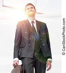 肖像, 在中, a, 成功, 律师, 隔离, 在怀特上, 背景