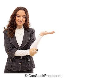 肖像, 在中, a, 相当, 年轻, 商业妇女, 站, 隔离, 在怀特上, 背景