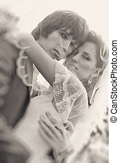 肖像, 夫婦, 年輕, 婚禮