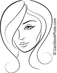 肖像, 女孩, 美丽, 脸