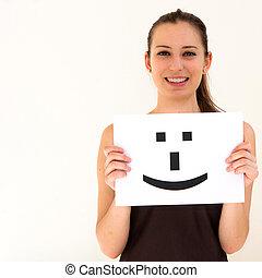 肖像, 年輕婦女, 由于, 板, 微笑, 臉, 簽署
