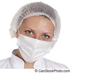 肖像, 年輕, 醫學的醫生, 婦女