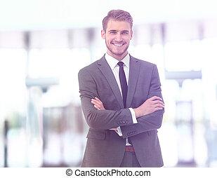 肖像, 微笑, 商人, 漂亮, 充滿信心