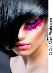 肖像, 模型, 時裝, 黑發淺黑膚色女子