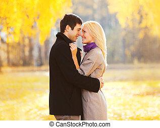 肖像, 浪漫, 微笑, 夫婦, 在愛過程中, 在, 溫暖, 陽光充足的日, 在上方, 黃色, 葉子, 背景