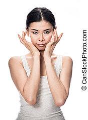 肖像, ......的, 亞洲人, 年輕婦女, 看  照相機