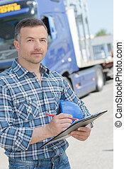 肖像, ......的, 卡車駕駛員, 由于, 剪貼板