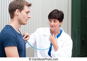 肖像, ......的, 女性 醫生, 由于, 病人
