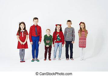肖像, ......的, 孩子, 站立, 在一行中