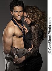 肖像, ......的, 年輕夫婦, 在愛過程中, 矯柔造作