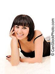 肖像, ......的, 微笑的婦女, 由于, 完美, 白色, teeth.