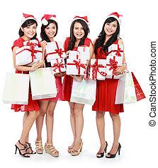 肖像, ......的, 愉快, 滑稽的人民, 由于, 聖誕節, 圣帽子, 藏品, 禮物盒