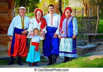 肖像, ......的, 愉快, 烏克蘭人, 家庭, 在, 傳統, 服裝