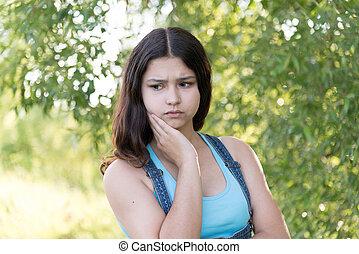 肖像, ......的, 憂鬱, 青少年的 女孩, 上, 自然